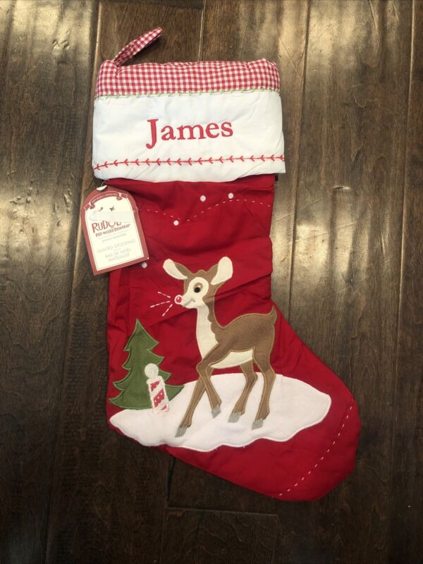 NWT Pottery Barn Kid Reindeer Rudolph Quilted Red Christmas Stocking Mono James
