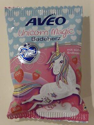 (13,80€ je 100g) Aveo Unicorn Magic Einhorn BADEHERZ Erdbeer Duft Limited 50g ()
