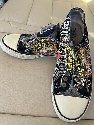 Ed Hardy Womens Black Low Cut Laceless Tiger Shoes Size 8 EUC