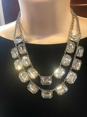 New Double Strand - WHITE HOUSE BLACK MARKET DOUBLE STRAND Faceted Jeweled Collar Necklace-WOW! NEW!