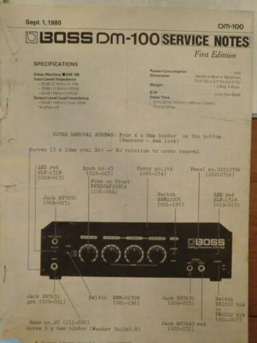 Roland Boss DM 100 delay chorus flanger service notes original 1980
