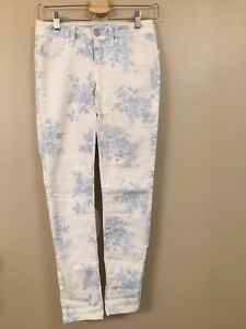 White/Blue Floral American Eagle Stretch Jeans 00