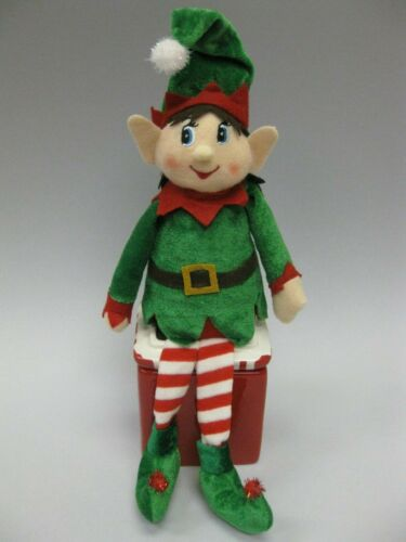 CHRISTMAS PIXIE ELF Shelf Sitter Felt Cloth Girl DOLL Green & Red Holiday Elve