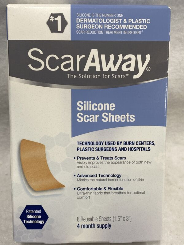 "ScarAway Medical Grade Silicone Scar Sheets 1.5"" x 3"" - 8 Sheets Exp 01/24-09/25"