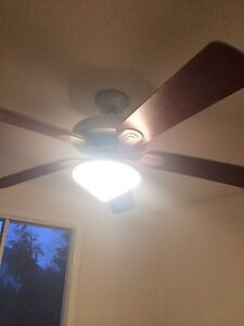 Brushed Nickel and Cherry Wood Ceiling Light/Fan