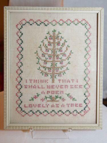 Vintage Cross Stitch Framed Joyce Kilmer Trees Poem Lovely as a Tree 1961