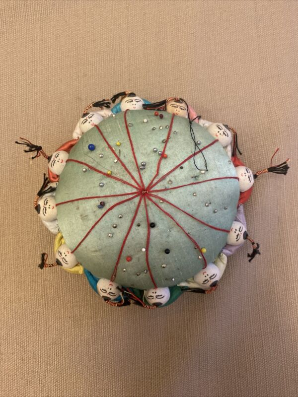 Vintage Asian Chinese Pin Cushion Sewing 12 Children People Round Holding Hands
