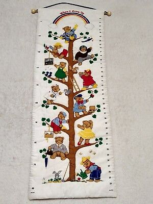 Clothes Tree Nursery Decor (WHEN I GROW UP Hanging Quilted Growth Chart Bears Tree Wood Dowel Cloth)