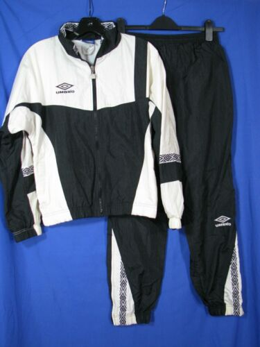 UMBRO Vintage BLACK & WHITE TRACK SUIT Windbreaker PARACHUTE JACKET PANTS SET YL