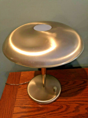 Vintage Mid Century Space Age Gold Satin Metal Table Lamp w/ Dimmer Control