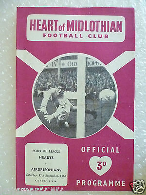 1958 HEART OF MIDLOTHIAN v AIRDRIEONIANS, 13th Sept (Scottish League)
