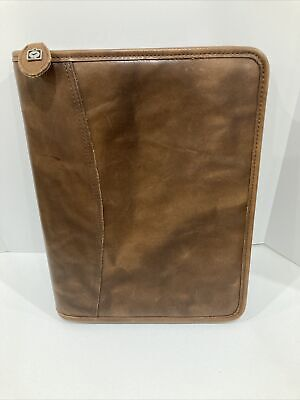 Day-timer Brown Leather Zipper 7 Ring Daily Planner Notebook Organizer 8 X 10.5