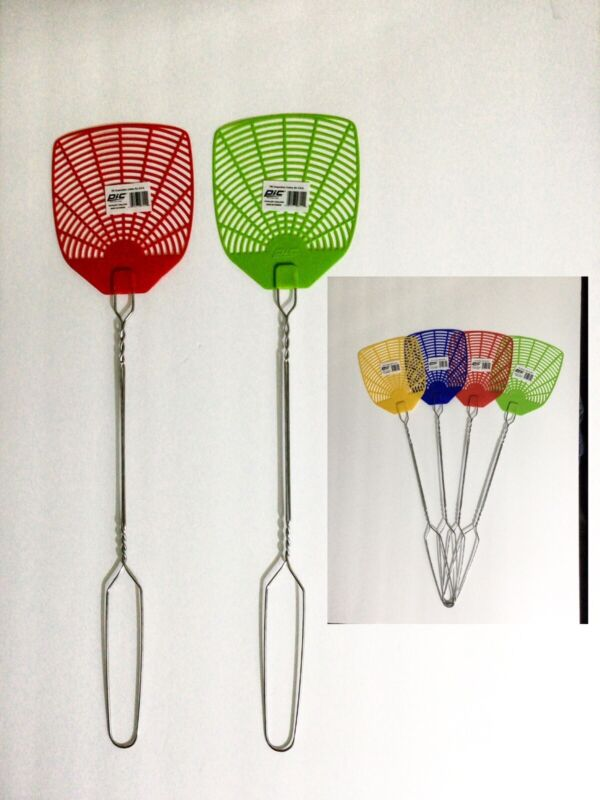 """2 PC PIC BRAND 20"""" LENGTH 5"""" X 5"""" FACE WIRE HANDLE FLY SWATTERS 4 ASSORTED COLOR"""