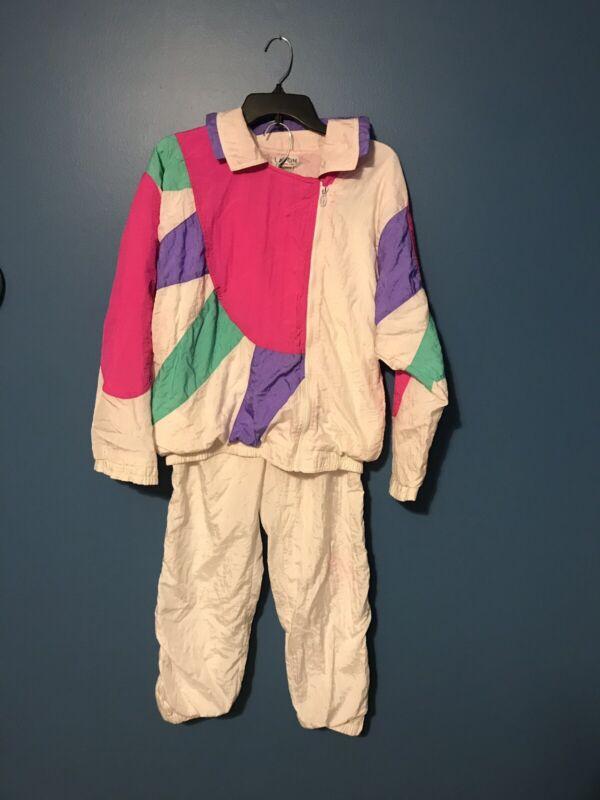 Lavon Womens Retro Vintage 80s Windbreaker Jacket Track Pants Set Color Block M