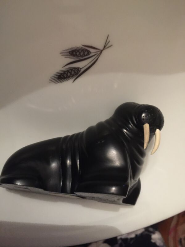 """Vintage Walrus Figurine 4"""" Long   By BOMA Vancouver BC"""