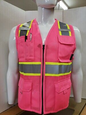 Two Tone High Visibility Pink Safety Vest Size Small - 5xl