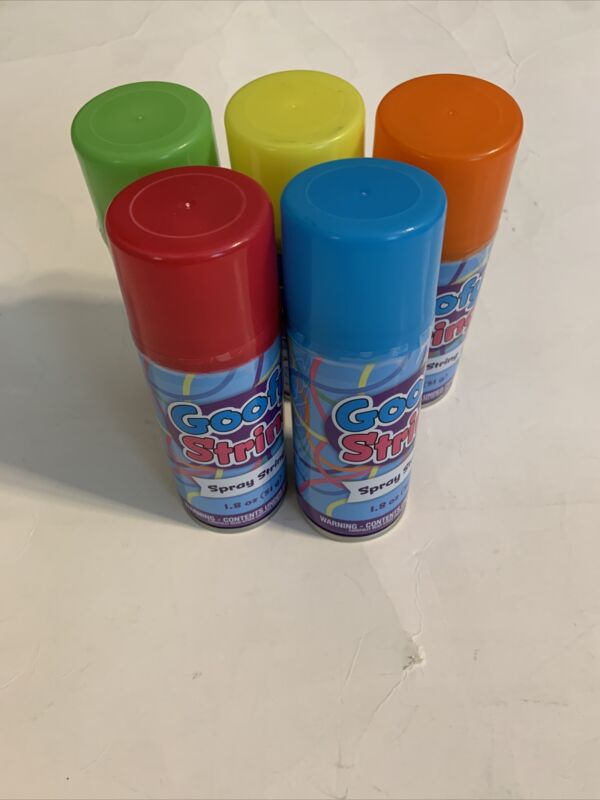 Goofy String Spray String - silly string like spray - Lot Of 5 Different Colors