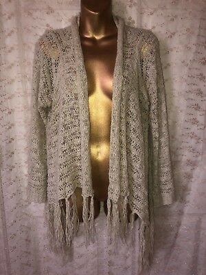 Day Trip Cable Sweater - Daytrip Womens L Beige Cardigan Cable Knit Sweater Vest With Fringe