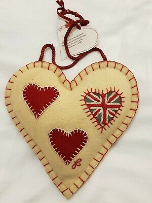 BNWT Jan Constantine Multi Hearts Embroidered Wool Hanging Spice Heart