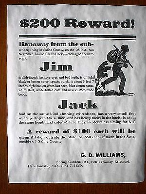 "(801) SLAVERY ADVERT RUNAWAY SLAVE REWARD MISSOURI 1860 REPRINT POSTER 11""x14"""