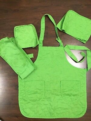 4 pc.Vintage Lime Green Quilted Apron -Toaster Can - opener- Mixer Covers (H3)