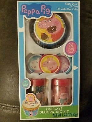Peppa Pig Cupcake Decorations (NEW Peppa Pig Cupcake Decorating Kit Collectible Coins Edible Decor Makes)
