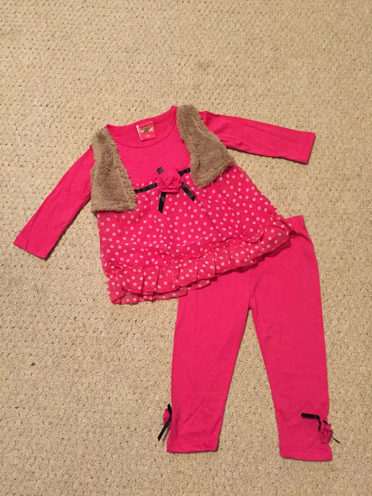 """NEW """"PINK Rose Dot"""" Vest & Pants Girls 12m Fall Winter Clothes Baby Boutique"""