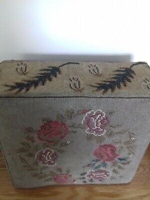 antique wood frame embroided footstool / pouffe