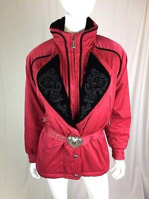 Obermeyer Womens Ski (Vintage Obermeyer Womens 8 Red Black Velvet Embroidered Akasha 80's Ski Jacket)