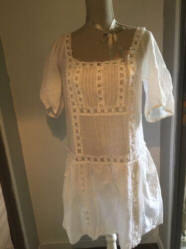 Magnifique robe tunique sandro blanche t 3 babydoll neuve romantique dentelle
