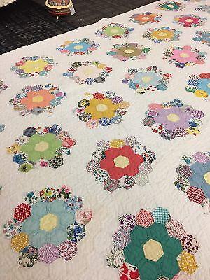 Gorgeous Vintage Grandma's Flower Garden Hand Made Quilt Beautiful!