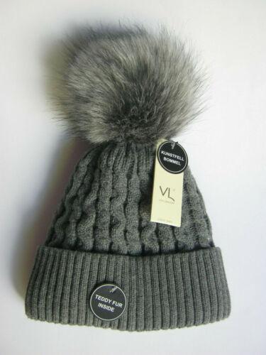 Von Lamezan Toddler Girl Boy Gray Knit Hat Beanie Winter Hat