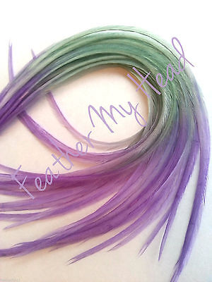 "10 Tie Dye Fade Multi Colored Feather Hair Extension ALL SOLID 9""-12"" Long"