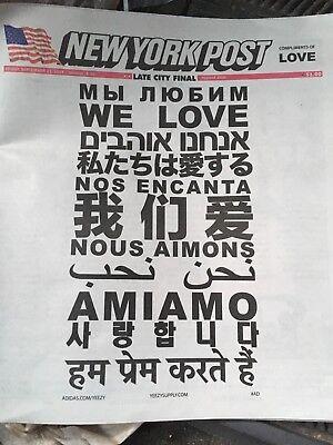 Kanye West WE LOVE Yeezy Adidas New York Post Newspaper 9/21/18
