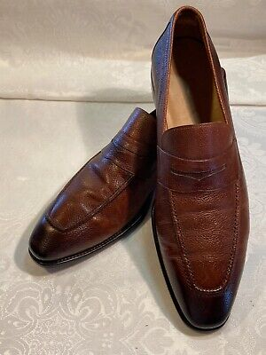 Salvatore Ferragamo Mens burnished brown dress shoes size 10 pebbled leather