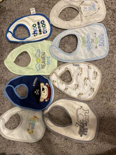Lot of 8 Baby Boy Bibs, Multiple Brands.
