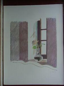 David Hockney RA Plate Signed print POP ART Rose in a Window - Most Destroyed
