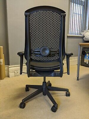 Herman Miller Celle Chair - Plastic Back And Seat - Adjustable Arms - Dark Grey