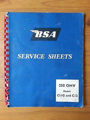 BSA, Service Sheets, 250 OHV models, C11G and C12, 1950s, original, not repro