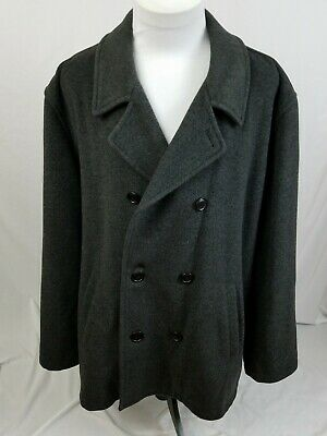 J. CREW Charcoal Gray 80% Wool Blend Double Breasted Car Pea Coat Mens XL EUC for sale  Newark