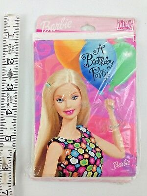 - Barbie Doll Birthday Party 8 Invitation Cards Pack OOP Mattel 2000 New