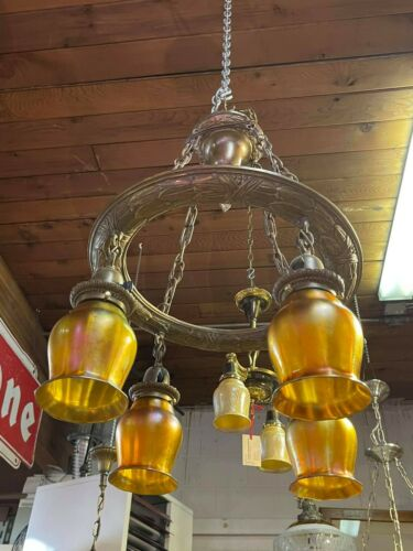Bronze Chandelier With 4 original Quezal Gold Aurene Shades