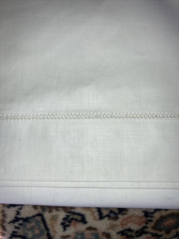 Gorgeous Vintage 100% Ladder Hem Linen Fabric, roughly 80x100 in. Sheet, EVC