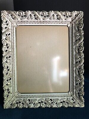 Old Tabletop Picture Frame with Brown Crushed Velvet Backing and Ornate Metal Frame and Glass