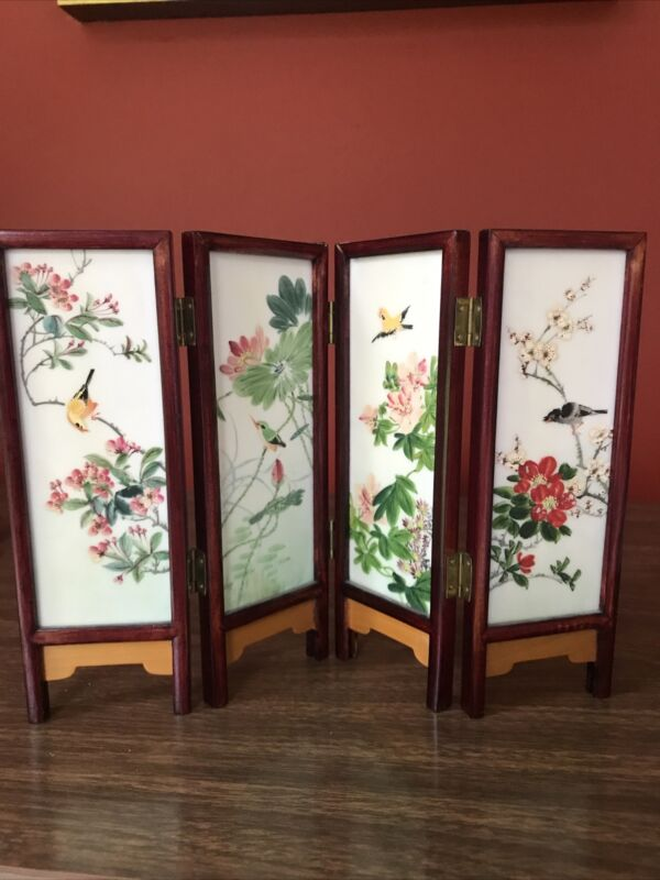 Chinese 4 Panel Folding Wood Screen Divider Asian Small Tabletop Decor