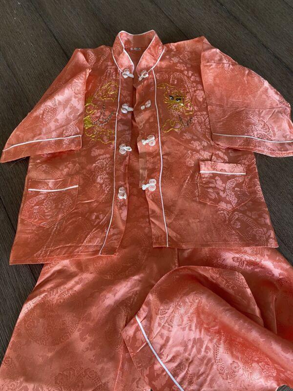 Vintage Silk Gold Dragon Embroidered Child Top Bottom Pajama