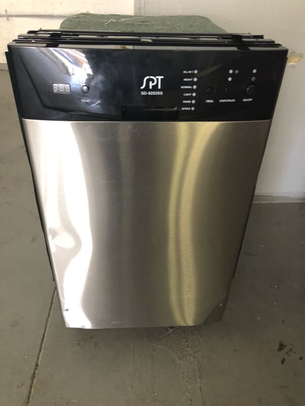 """SPT 18"""" Front Control Built-In Dishwasher with Stainless Steel Tub Stainless Steel SD-9252SS"""