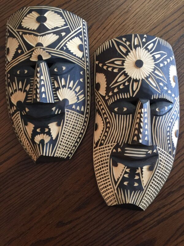 Mexican Folk Art Mask Pair From Chiapas México Fine Detailed Carved Wood