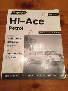 Toyota Hi-Ace Petrol RH Service and Repair Manual (1977 - 1983) Albany Albany Area Preview