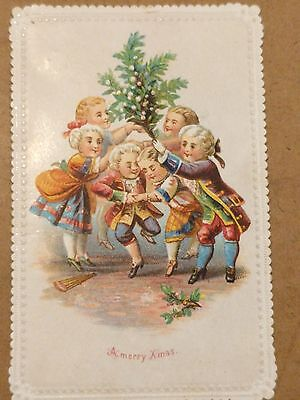 "#Original 1800's Victorian Paper Trade Card ""Merry Xmas "" 2.5 x 4"""